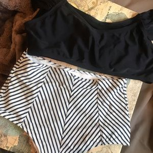 Other - High waisted striped & off the shoulder bikini